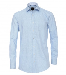 Venti - Slim Fit - Herren Hemd unifarben mit Button Down-Kragen in Blau (182919800)