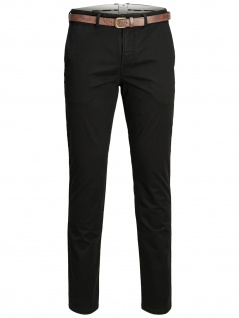 Jack & Jones - Herren Chino Hose mit Gürtel in Schwarz, Regular Fit (Art. 12139722)