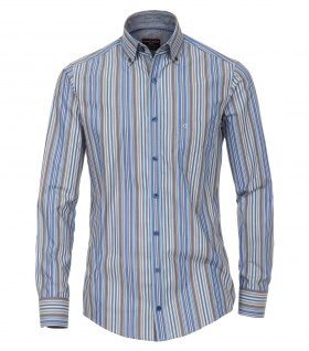 Casa Moda - Casual Fit - Herren Dobby Hemd, gestreift mit Button Down-Kragen in Blau (472831100A)