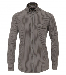 Casa Moda - Casual Fit - Herren Popeline Hemd, gestreift mit Button Down-Kragen (472858900A)