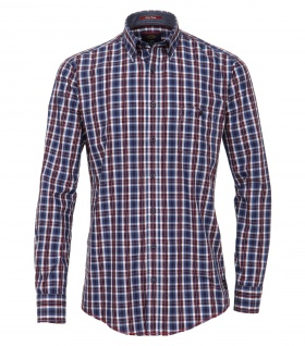 Casa Moda - Casual Fit - Dobby Herren Hemd kariert mit Button Down-Kragen in Blau (472802400A)