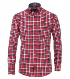 Casa Moda - Casual Fit - Herren Oxford Hemd kariert mit Button Down-Kragen in Rot (472803000A)