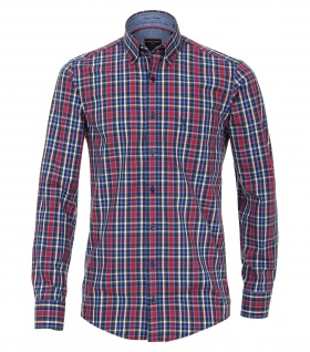 Casa Moda - Casual Fit - Dobby Herren Hemd kariert mit Button Down-Kragen in Rot (472832600A)