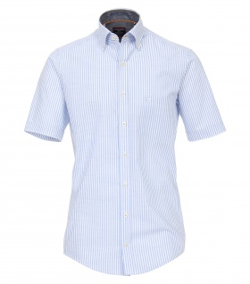 Casa Moda - Casual Fit - Herren Freizeit 1/2-Arm-Hemd in weiß/blau mit Button Down-Kragen (982903400)