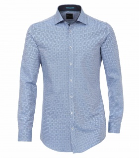 Venti - Body Fit/Super Slim Fit - Herren Langarm Hemd in Blau gemustert (162546500 A)