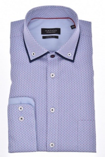 Hatico - Regular Fit - Bügelfreies Herren Langarm Hemd mit doppeltem Button Down Kragen in Blau mit Print (3054 530)