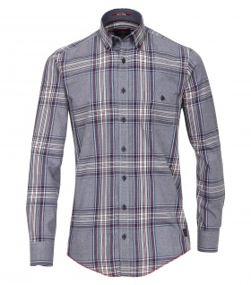 Casa Moda - Casual Fit - Herren Mouliné Hemd kariert mit Button Down-Kragen in Grau (472802700A)