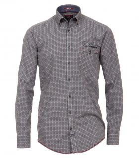 Casa Moda - Casual Fit - Dobby Herren Hemd kariert mit Button Down-Kragen in Grau (472803800A)