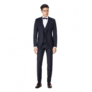 Benvenuto Purple - Super Slim Fit - Herren Baukasten Anzug gestreift, Othello/Iago 360° (20897)