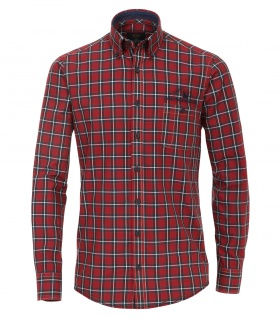 Casa Moda - Casual Fit - Oxford Herren Hemd kariert mit Button Down-Kragen in Rot (472858300A)