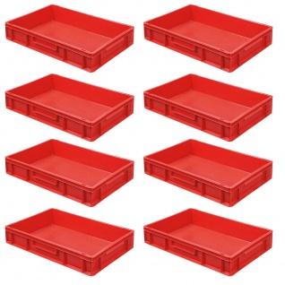 8 Eurobehälter / Stapelbehälter, LxBxH 600 x 400 x 120 mm, Inhalt 23 Liter, rot