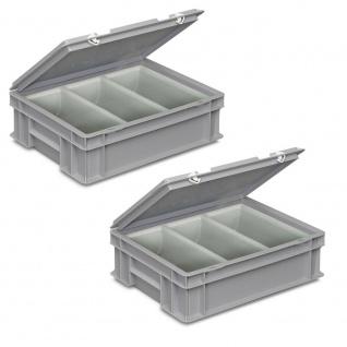 2 Besteckkoffer / Sortierbehälter, LxBxH 400x300x130 mm, grau, 3 Mulden je 2 Liter