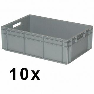 10x Eurobehälter mit 2 Durchfassgriffen, LxBxH 600 x 400 x 220 mm, grau