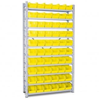 Steckregal, verzinkt, 2000x1070x315 mm, 10 Böden, mit 60 Sichtboxen LB 4 gelb