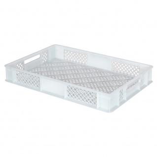 Stapelbehälter / Eurobehälter mit 2 Durchfassgriffen, LxBxH 600 x 400 x 90 mm, weiß - Vorschau