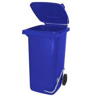 120 Liter Mülltonne mit Fußpedal für handfreie Bedienung, blau