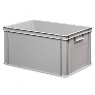 10x Behälter, LxBxH 600x400x320 mm, grau + 10 Scharnierdeckel + 1 Transportroller