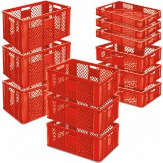 12 Euroboxen / Bäckerkisten, LxB 600x400 mm, H 90 mm/150 mm/240 mm/320 mm, rot