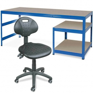 Packtisch mit Unterbau mit 2 Böden, 1800 x 600 x 900 mm + Arbeitsdrehstuhl