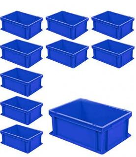 10 Euroboxen mit 2 Griffleisten, LxBxH 400x300x170 mm, 16 Liter, blau