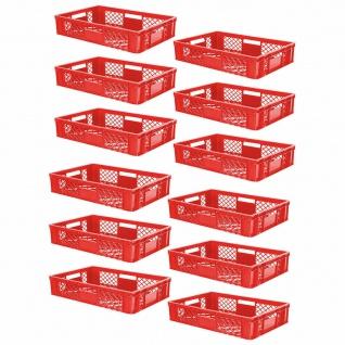 12 Euroboxen / Bäckerkisten, LxBxH 600x400x150 mm, PE-HD, rot, lebensmittelecht