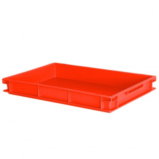 Untersetzbehälter/Schlittenkasten mit 2 Griffleisten, LxBxH 600 x 400 x 75 mm, Inhalt 13 Liter, rot