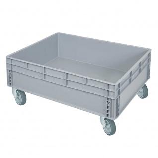 Stapelbehälter / Eurobehälter mit 2 Griffleisten u. 4 Lenkrollen, LxBxH 800 x 600 x 345 mm, grau