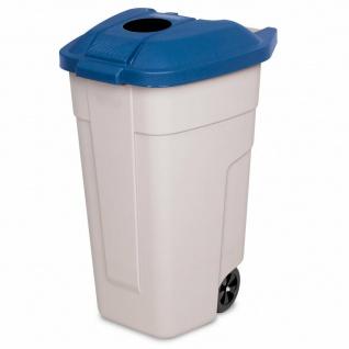 100 Liter Tonne mit Einwurföffnung im Deckel, BxTxH 510x550x850 mm, beige/blau