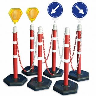 Kettenpfosten-Set, 6 Ständer, 10 m Kette, 2x Lampe, 2x Leitschild rechts + links