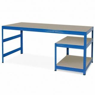 Packtisch / Werkbank, BxTxH 1800x600x900 mm, Unterbau BxTxH 600x600x515 mm, blau