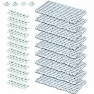 25-teiliges Set, 3, 4 m² Bodenrost, weiß, aus lebensmittelechtem PE-HD Kunststoff