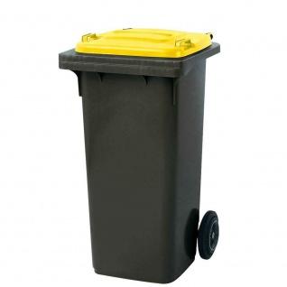 120 Liter MGB, Mülltonne Abfalltonne, grau mit gelbem Deckel