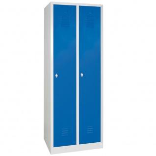 Kleiderspind, 1800 x 600 x 500 mm, 2 Abteile á 300 mm, grau/blau