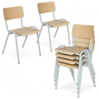 6-teiliges Stapelstuhl-Set, Gestell lichtgrau, Sitz/Lehne aus Buche-Schichtholz