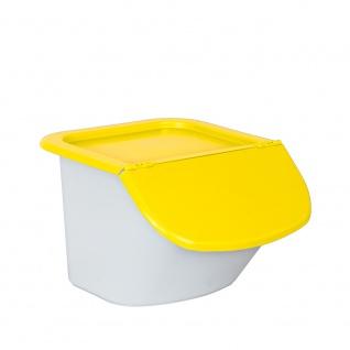 Vorratsbehälter / Zutatenspender, Inhalt 15 Liter, LxBxH 440 x 400 x 280 mm, Behälter weiß, Deckel gelb