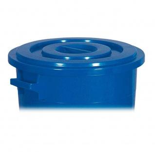 100 Liter Kunststofftonne / Rundtonne weiß, Deckel blau, ØxH 520/415 x 670 mm