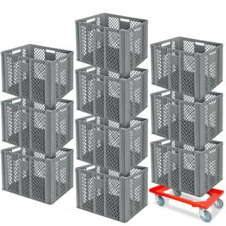 10 Euroboxen, 600x400x410 mm, lebensmittelecht, grau + GRATIS Transportroller