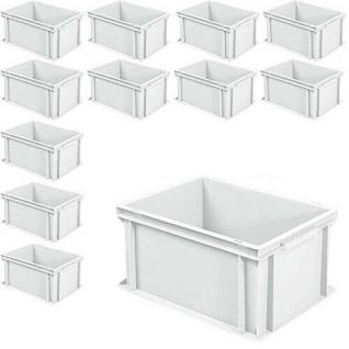 12 Euroboxen mit 2 Griffleisten, LxBxH 400 x 300 x 220 mm, 21 Liter, weiß