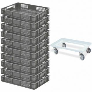 10x Bäckerkiste / Euroboxen, LxBxH 600x400x90 mm, grau + GRATIS Transportroller