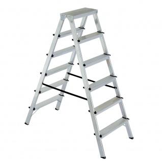 Doppelleiter / Bockleiter aus Alu, 2x 6 Stufen, erreichbare Arbeitshöhe 3300 mm