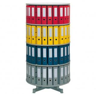 Ordnerdrehsäule, 4 Etagen für bis 80 breite DIN-Ordner, hellgrau, HxØ 156x81 cm