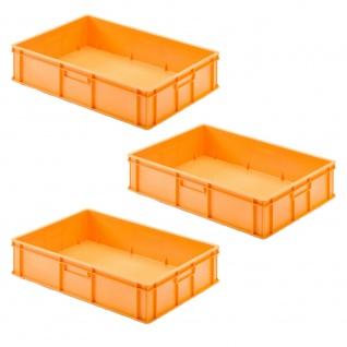 3 Transportbehälter für Backbleche, LxBxH 655x450x150 mm, orange, geschlossen