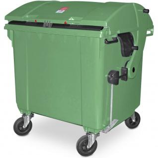 Müllcontainer nach EN 840, 1100 Liter, Runddeckel, mit Aufnahme-Kammleisten, grün