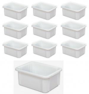 10 Schwerlastbehälter/Eurobehälter, LxBxH 400x300x165 mm, weiß, lebensmittelecht