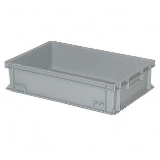 Eurobehälter / Stapelbehälter, LxBxH 600 x 400 x 150 mm, Inhalt 27 Liter, grau, Boden/Wände geschlossen