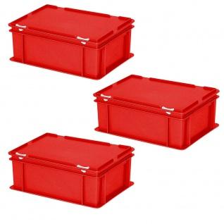 3 Deckelbehälter im Euroformat, LxBxH 400x300x180 mm, 16 Liter, 1, 6 kg, rot