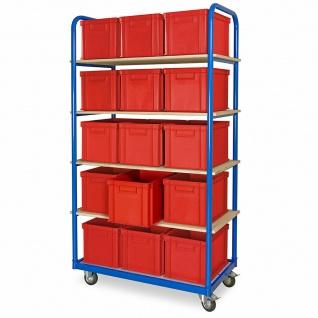 Kommissionierwagen mit 5 Ebenen und 15 Behältern in rot, LxBxH 400x300x280 mm