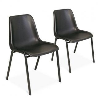 Set mit 2 Formschalenstuhl, stapelbar, Oval-Stahlrohr-Gestell 15x30 mm, schwarz