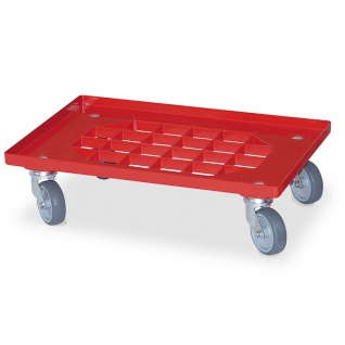 Gitterroller für 600x400 mm Behälter, Tragkraft 250 kg, rot, graue Gummiräder
