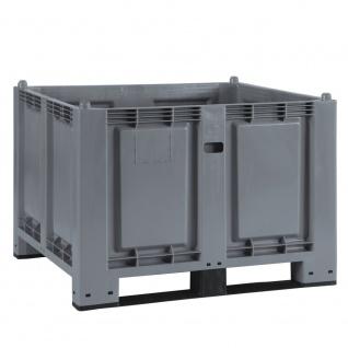 Palettenbox mit 2 Kufen, 1200 x 800 x 850 mm, Boden/Wände geschlossen, grau